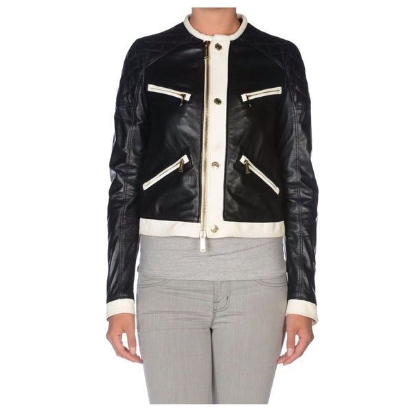 WOMEN WHITE ZIPPER MOTO BIKER LEATHER JACKET -