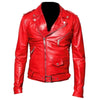 MEN RED CLASSIC MOTORBIKE LEATHER JACKET - jackethunt