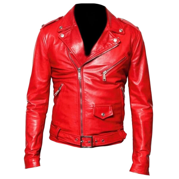 MEN RED CLASSIC MOTORBIKE LEATHER JACKET -