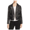 Women Lambskin Leather Stud Pin Biker Jacket -