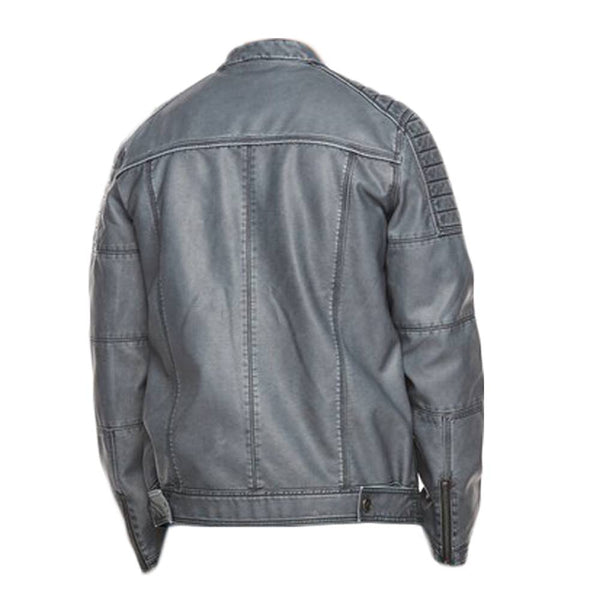 Men Smokey Grey Wax Fashion Leather Jacket -