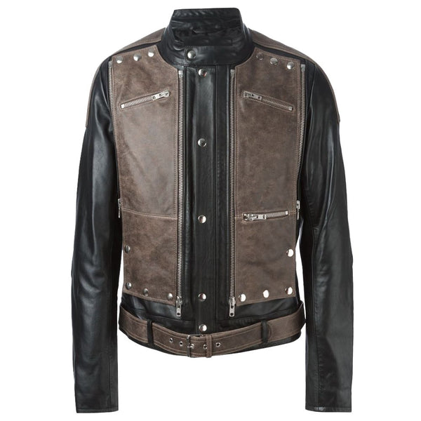 Contrasting Brown Black Biker Jacket -