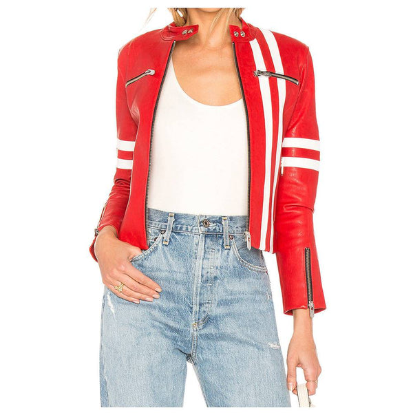 WOMEN LEATHER BIKER JACKET RED WOMEN LAMBSKIN BIKER JACKET -