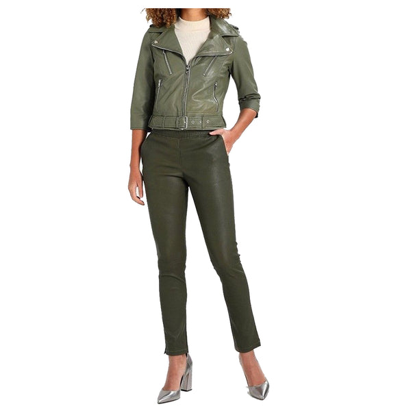 Women Olive Green Motorcycle Genuine Leather Jacket - Jackethunt