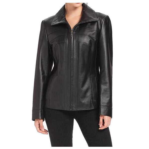 WOMEN LAMBSKIN FASHION SCUBA LEATHER JACKET -
