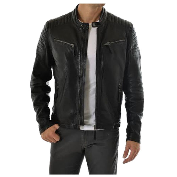 Quilted Shoulder Biker Leather Jacket -