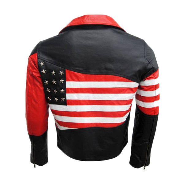 AMERICAN FLAG LEATHER JACKET USA BLACK LAPEL JACKET - Jackethunt