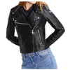 Women Genuine Lambskin Motorcycle Biker Leather Jacket -