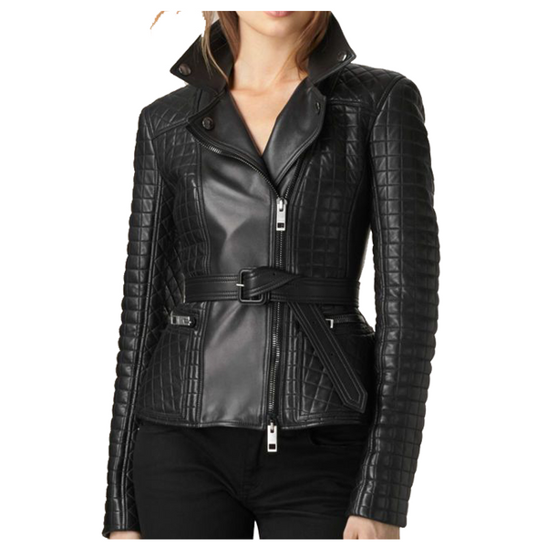 WOMEN ELEGANT BIKER FASHION LEATHER JACKET -