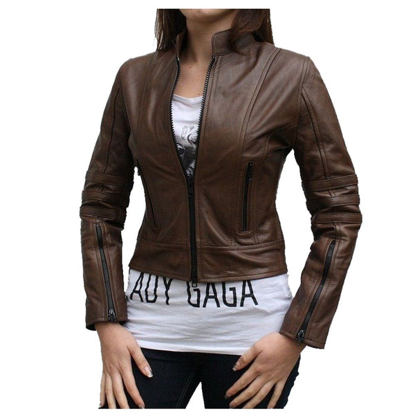 ANTIQUE BROWN WOMEN DARK ANGEL LEATHER JACKET -