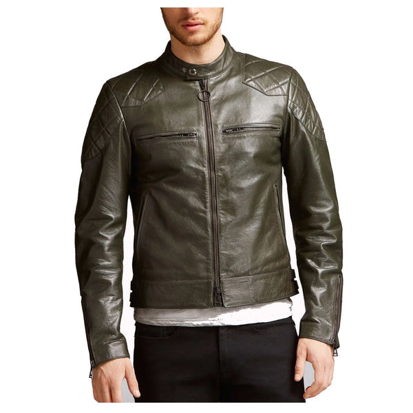 Men Vintage Waxed Biker Fashion Leather Jacket