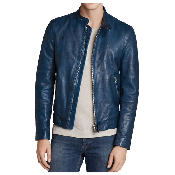 Blue Slim Fit USA Biker Leather Jacket -