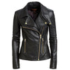WOMEN MOTORCYCLE RIDER GOLDEN BUTTON LEATHER JACKET -