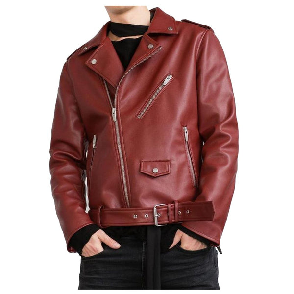 Glossy Red Biker USA Leather Jacket -