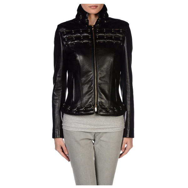 Women Genuine Leather Motorcycle Fashion Jacket -