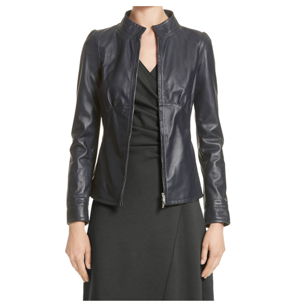 Women Lambskin Fashion Leather Jacket Black -