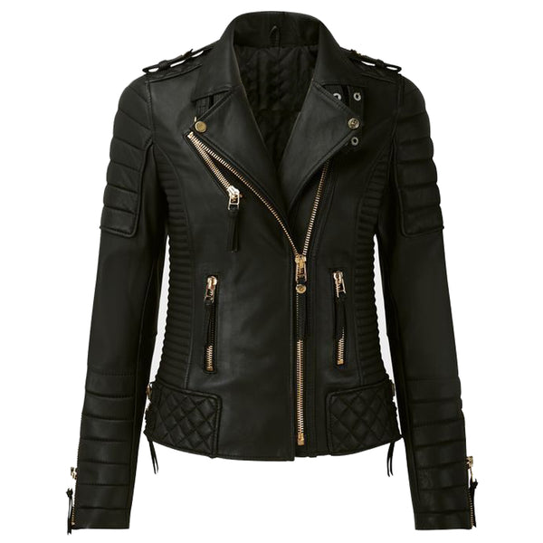 WOMEN MOTORCYCLE FASHION LEATHER JACKET GOLDEN ZIPPER - jackethunt
