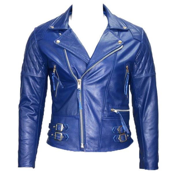 Electric Blue USA Cafe Racer Moto Jacket -