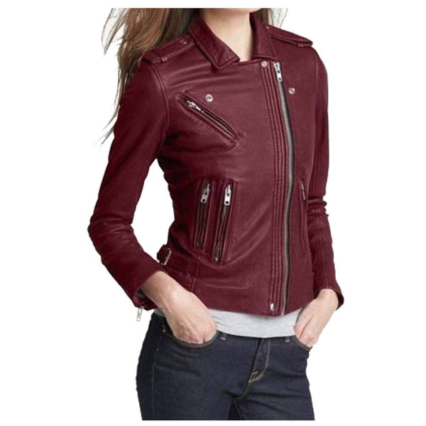 WOMEN MAROON LEATHER SLIM FIT FASHION LEATHER JACKET - jackethunt