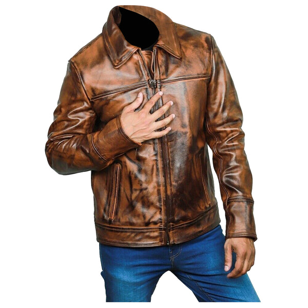MEN VINTAGE BIKER VAX GENUINE LEATHER JACKET -