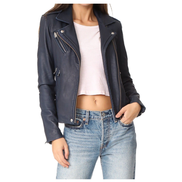 Women Motorcycle Lambskin Leather Jacket -