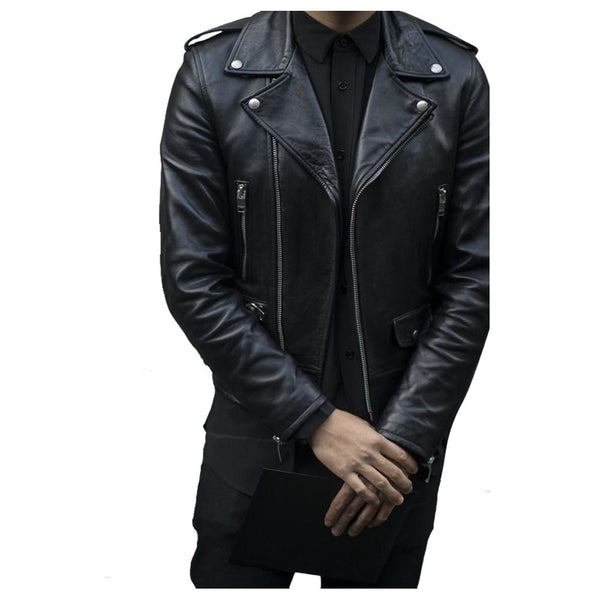 Men Classic Rocker Biker Slim Fit Leather Jacket -