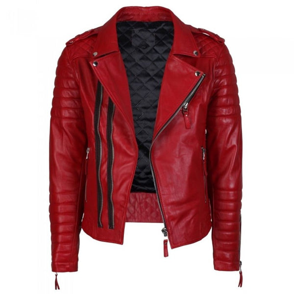 Red Quilted Fashion Biker Jacket - jackethunt