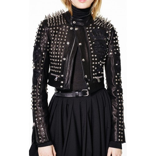 Black Cropped Silver Spike Metal Punk Full Studded Handmade Real Leather Jacket -