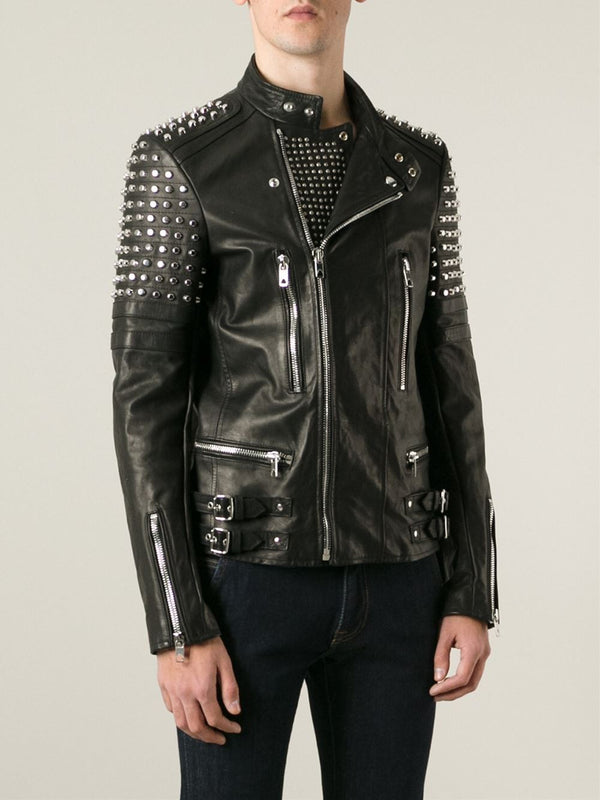 New Classy Looking Studded Men Biker Leather Jacket Design With Unique Features -