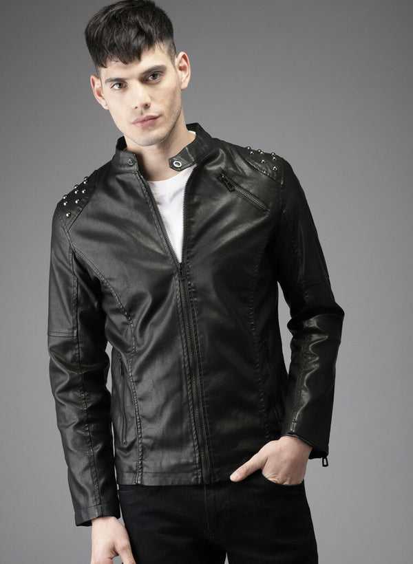 Men's Black Biker Tab Collar Real Leather Jacket Studded