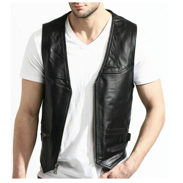 Men Motorcycle Fashion Leather Vest | Biker Rock Style Waistcoat