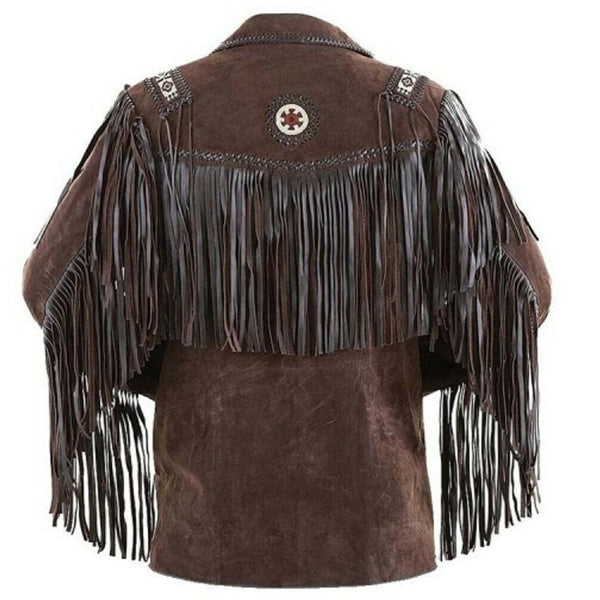 Dark Brown Leather Western Coyboy Jacket -