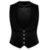 Men Gothic Velvet Vest Steampunk Black Wasit Coat VTG