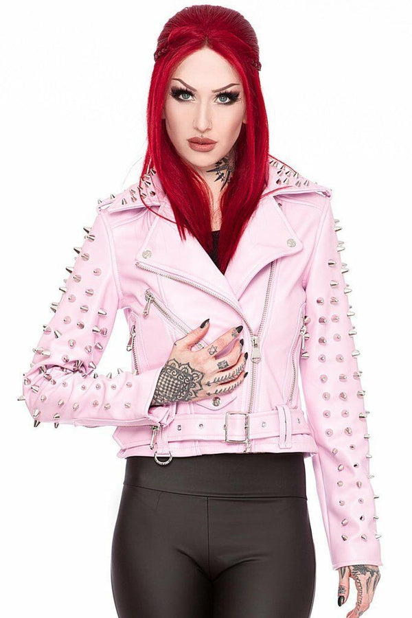 Women's Pink Color Brando Belted Magnificent Leather Silver Spike Studded Jacket -