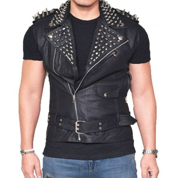 Men's Black Color Biker Genuine Leather Silver Spike Punk Studded Belted Vest -
