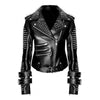 Handmade Women Black Punk Silver Spiked Studded Leather Biker Jacket - Jackethunt