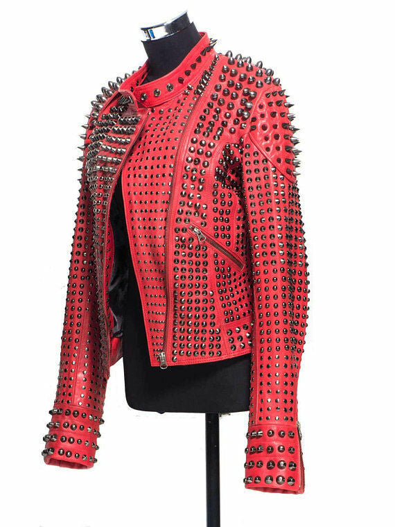 Women's Red Color Real Leather Silver Spike Studs Adjustable Belted Waist Jacket - jackethunt