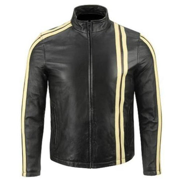 Men Classic Motorcycle Leather Jacket Yellow Stripes -
