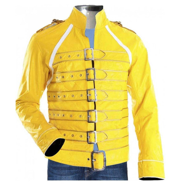 YELLOW MENS REAL LEATHER JACKET -