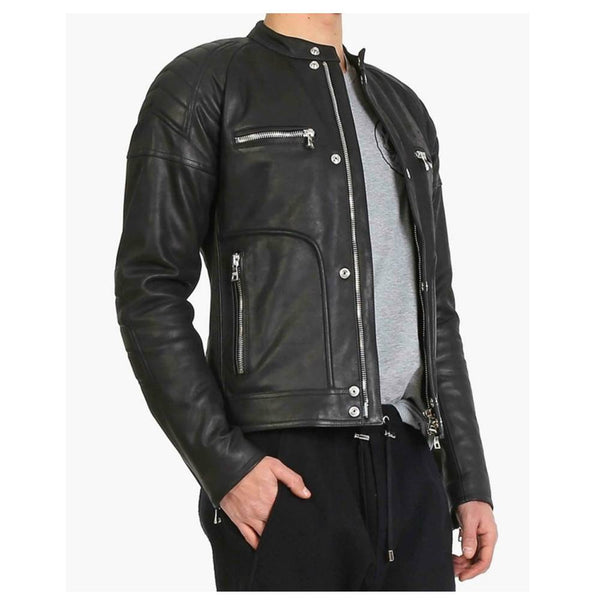 Men Black Elegant Fashion Leather Jacket -