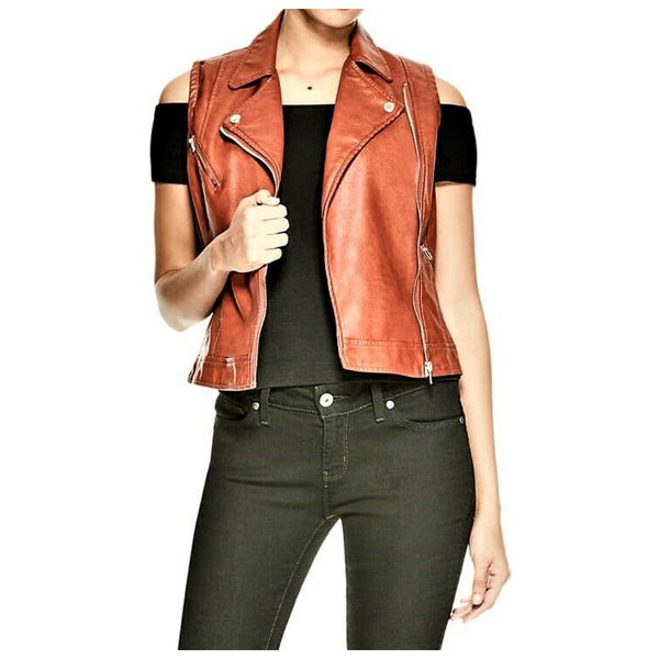 Rust Brown Women Genuine Leather Motorcycle Waistcoat | Premium Quality Jackethunt