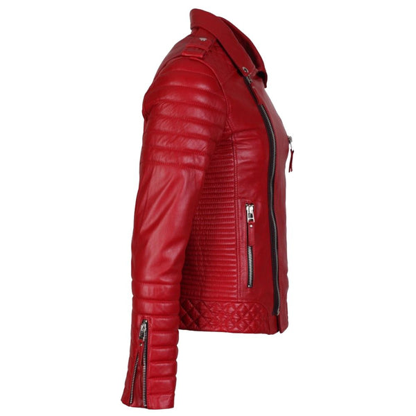 Men Supreme Red Biker Fashion Leather Jacket -