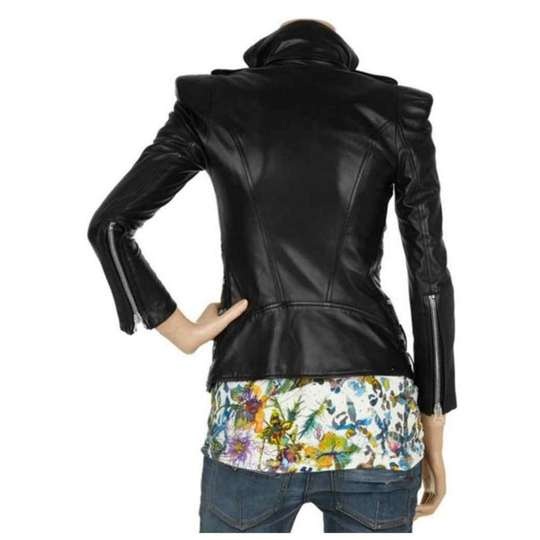 Military Black Leather Women Fashion Zipper Jacket