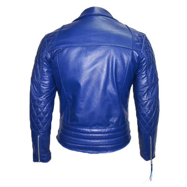 Royal Blue Cafe Racer Motorcycle Leather Jacket -