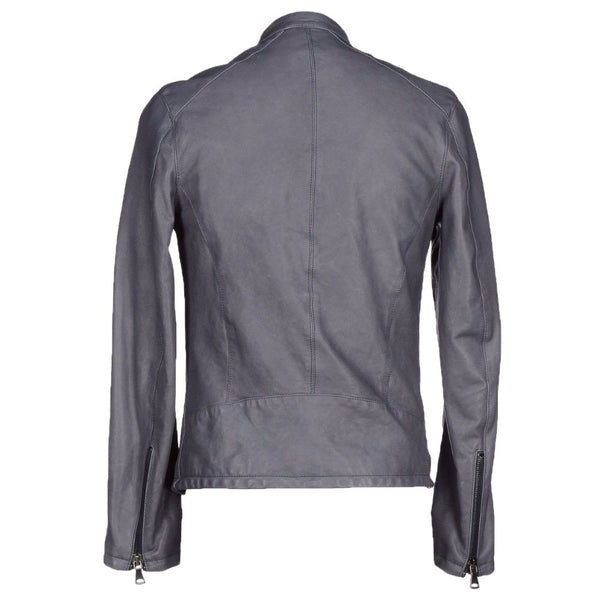 Men Slim Fit Grey Motorcycle USA Leather Jacket - Jackethunt