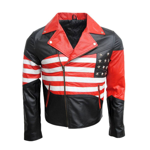 American Flag Biker Leather Jacket Classic USA Jacket -