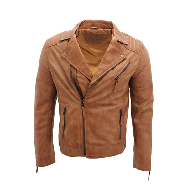 Men Brown LAPEL Quality Motorcycle Leather Jacket -