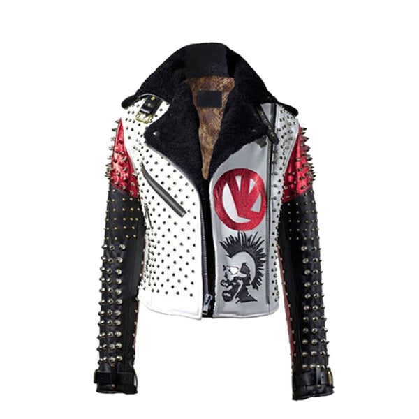 Men Punk Rock Star Jacket Studded Pin Leather Jacket -