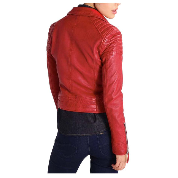 WOMEN GENUINE LAMBSKIN LEATHER MOTORCYCLE JACKET SLIM FIT DESIGNER -