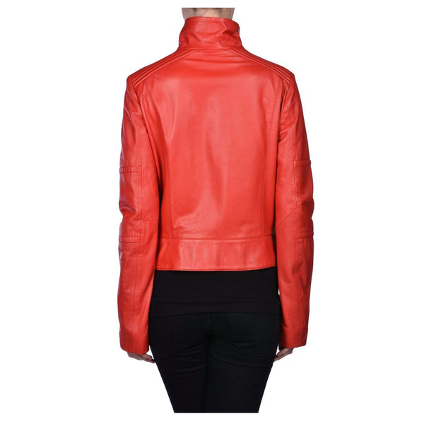 WOMEN RED GENUINE LEATHER JACKET BIKER JACKET - jackethunt